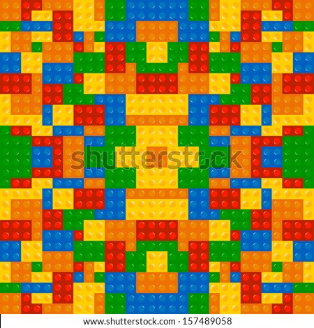 Colored Building Blocks Game Texture Background Vector - stock vector