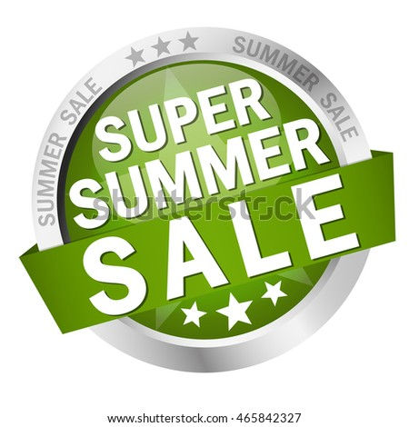 colored button with banner and text Super Summer Sale