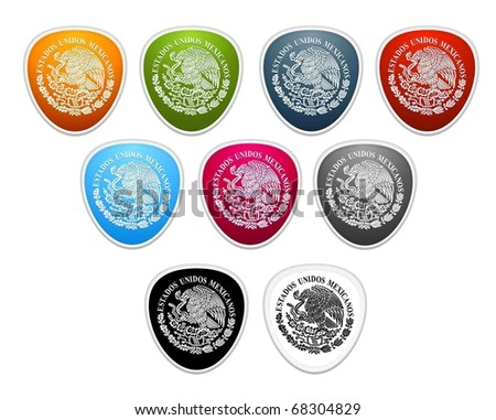 colored buttons. Mexican national emblem - stock vector