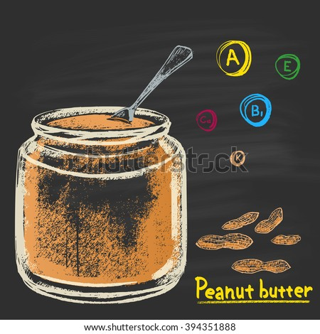 Colored chalk drawn illustration of bank with peanut (groundnut) butter. Vitamins A, E, B1, K and Calcium. Tasty food. Dessert, sweet. Traditional American sweetness. - stock vector
