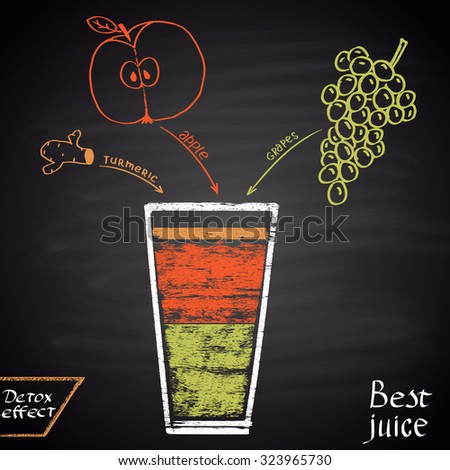 Colored chalk  drawn illustration of juice with apple, grape and turmeric. Infographic. Fitness theme. Best juice series. - stock vector