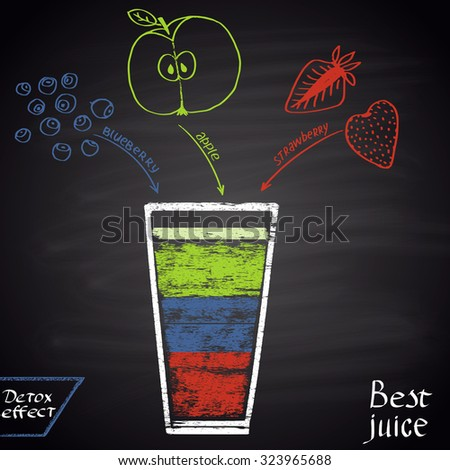Colored chalk  drawn illustration of juice with blueberry, strawberry and apple . Infographic. Fitness theme. Best juice series. - stock vector