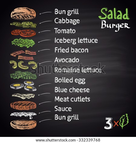 Colored chalk drawn illustration of Salad Burger with ingredients. Infographic. Burger menu theme. Fast food collection. - stock vector
