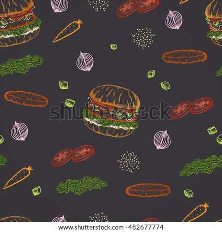 Colored chalk drawn seamless pattern vegan carrot burger with quinoa, zucchini and vegan mayonnaise.