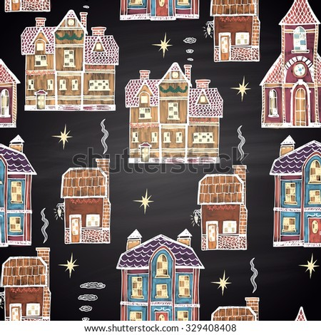Colored chalk drawn seamless pattern with different houses. Happy New 2016 Year theme. Border collection. Card design. - stock vector