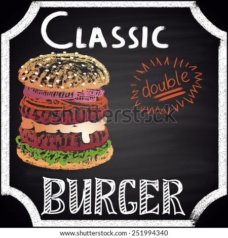 Colored chalk painted classic double burger. Burger menu theme. - stock vector