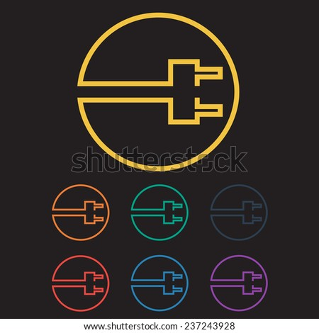 Colored Charging Electric Plug Icon Set. Vector Illustration - stock vector