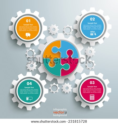 Colored circle puzzle with gears infogrpahic on the grey background. Eps 10 vector file. - stock vector