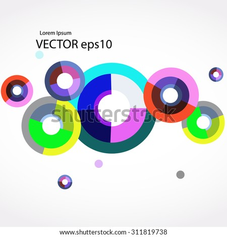 Colored circles in flight - stock vector