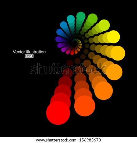 Colored circles in golden spiral. - stock vector
