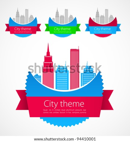 Colored city concept art. Vector - stock vector