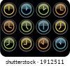 colored clocks - stock vector