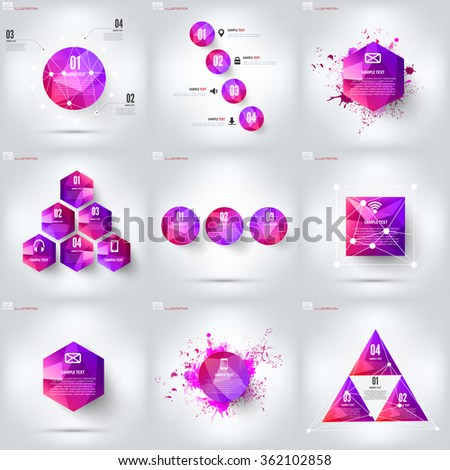 Colored cloud computing background with web icons. Social network. Mobile app. Infographic elements. - stock vector