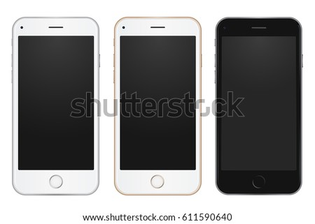 Colored concept of modern phones with empty screens, realistic white, gold and black mobile templates on white background. High quality vector illustration.