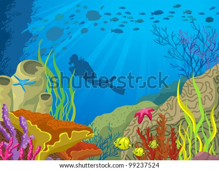 Colored coral reef and silhouette of diver on blue sea background - stock vector