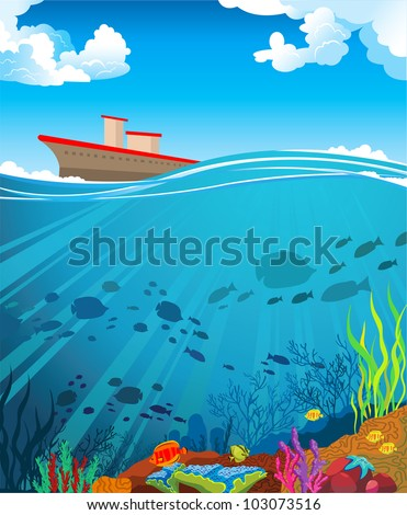 Colored coral reef with  silhouette school of fish and ship on a cloudy blue sky