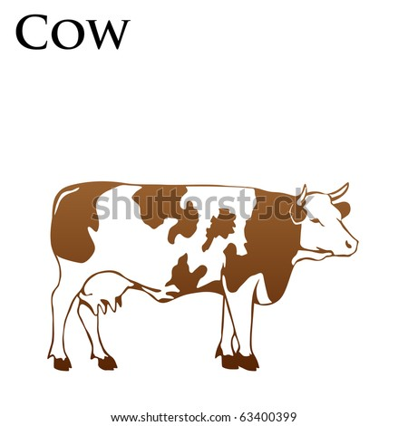 colored cow vector illustrator - stock vector