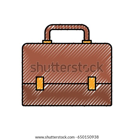 colored crayon silhouette of executive briefcase vector illustration