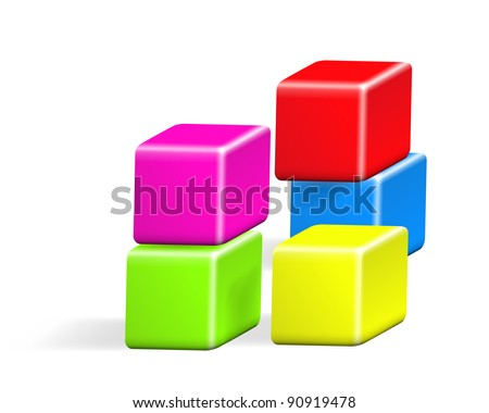 Colored cubes vector