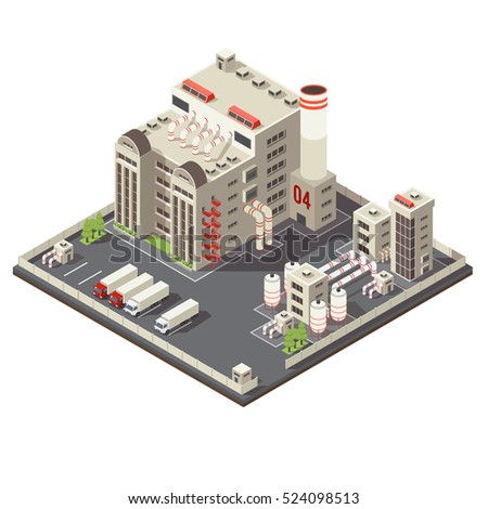 Colored 3d factory industrial area isometric with modern urban construction on piece of land vector illustration