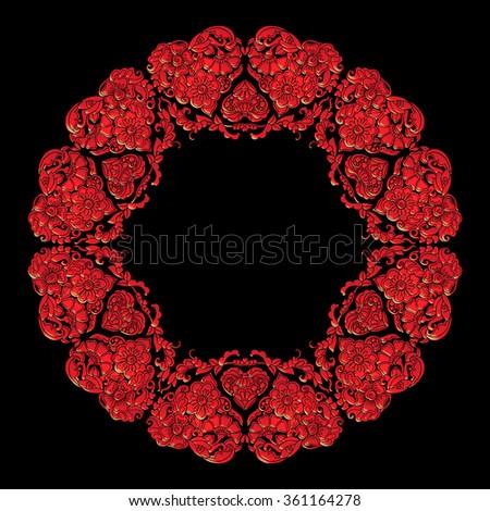 Colored Decorative mandala with Love hearts - stock vector