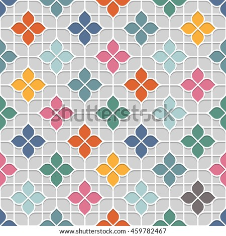 Colored Delicate Seamless Flower Pattern in Oriental style. Stained-glass window in East motif - background