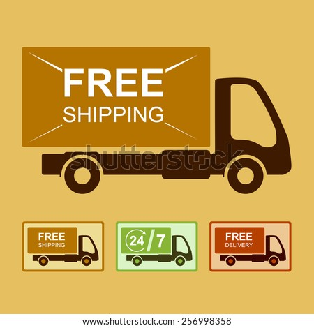 "Colored delivery sign or icon with background. Truck with ""Free shipping"" text."