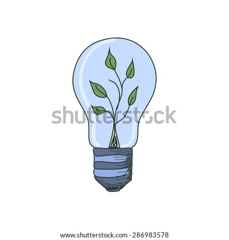 Colored doodle Light Bulb with sprout inside, excellent vector illustration, EPS 10 - stock vector