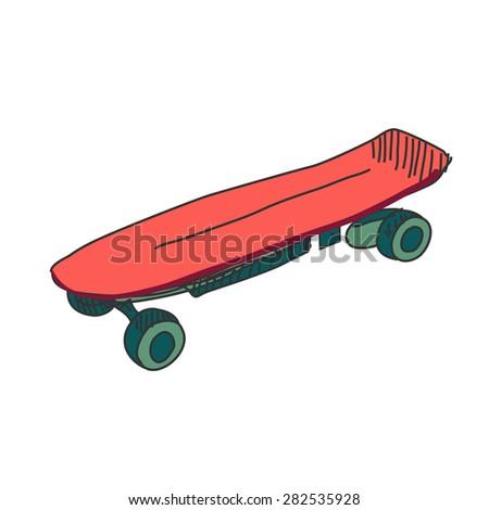 Colored doodle skateboard, excellent vector illustration, EPS 10 - stock vector