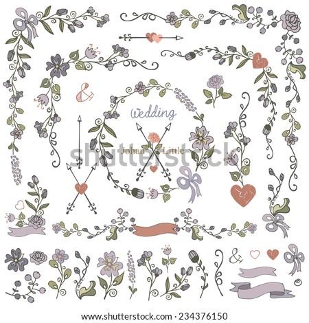 Colored Doodles border,frame,wreath,arrow,ribbon,floral decor element set.Hand sketched.Easy make design template,invitation,logo.For wedding,Valentine day,holiday,birthday,Easter,bridal shower.Vector - stock vector