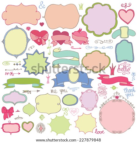 Colored Doodles label,badges,arrow,hearts,crown,love decor elements set.For design templates,invitations.Children's hand drawing style.For weddings,Valentine's day,holidays,baby design,birthday.Vector - stock vector