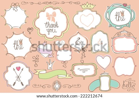 Colored Doodles labels,badges,frame,arrow,hearts,crown,love decor elements.For design templates,invitations.Children hand drawing style.For weddings,Valentine day,holidays,baby design,birthday.Vector - stock vector