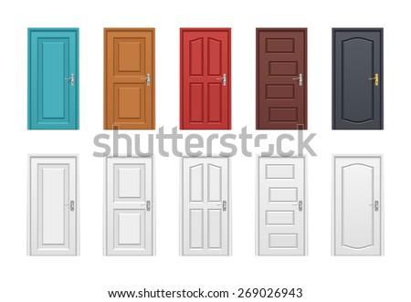 Colored doors set. Vector illustration  sc 1 st  Shutterstock & Colored Doors Set Vector Illustration Stock Vector 269026943 ...