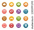 Colored Dots - Cloud computing Icons - stock photo