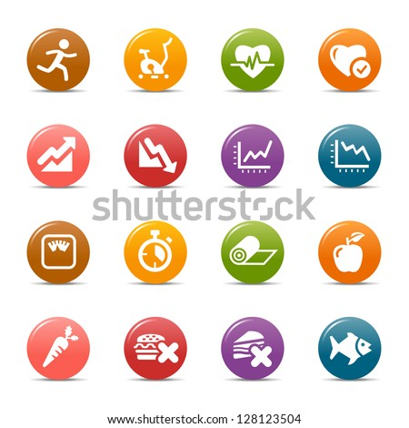 Colored Dots - Health and Fitness icons - stock vector