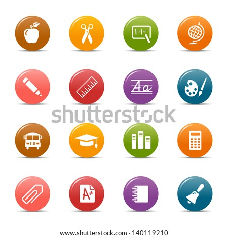 Colored Dots - School and University Icons - stock vector