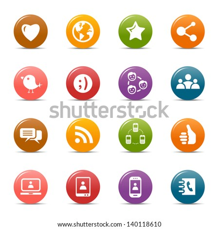 Colored Dots - Social Media Icons - stock vector