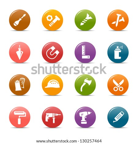 Colored Dots - Tools and Construction icons - stock vector