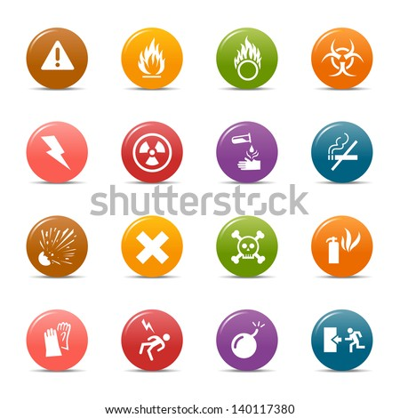 Colored Dots - Warning and Danger icons - stock vector