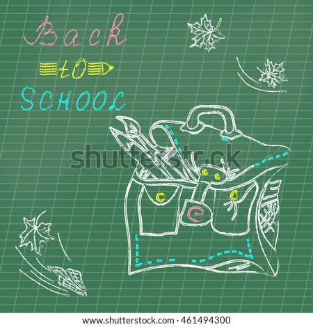 Colored drawing chalk school bag and inscription back to school