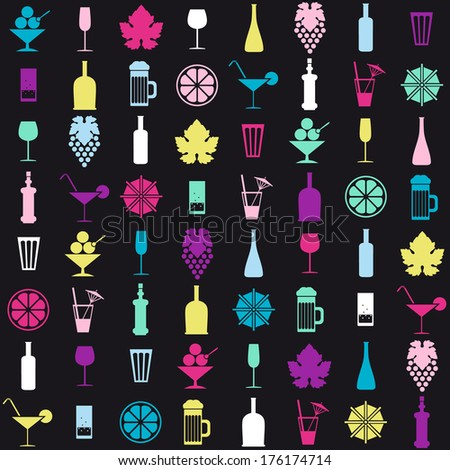 colored drinks vector icons set - stock vector