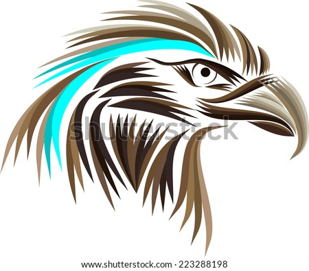 Colored eagle head