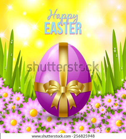 Colored Easter egg in the morning grass with flowers - stock vector