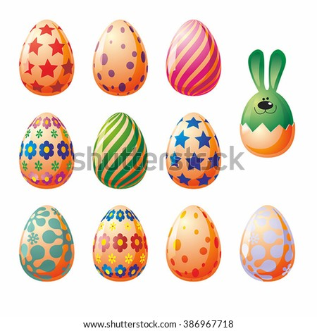 Colored Easter eggs and bunny. Vector with gradient.