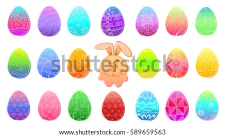 Colored Easter Eggs Isolated On White Background. Hand Draw An Easter  Symbol. Cute Cartoon