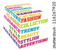 Colored Fashion cube typography terms - stock vector