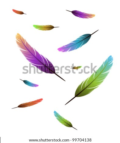 Colored feathers falling background