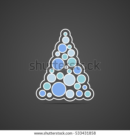 Colored flat icon, vector round design. Pyramid of circles for illustration soapsuds, water bubbles, fizzy and carbonated drinks. Unusual triangle
