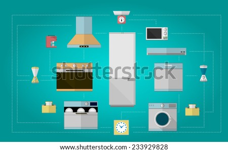 Colored flat vector icons for kitchen appliances. Set design of colored flat vector icons for home with kitchen equipment on blue background. - stock vector