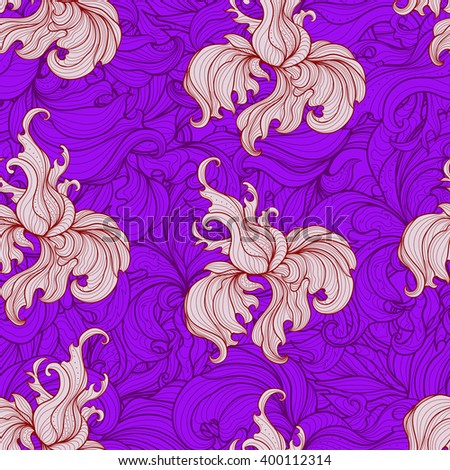 Colored floral pattern, endless pattern. Flowers on a violet background with seamless ornament - stock vector